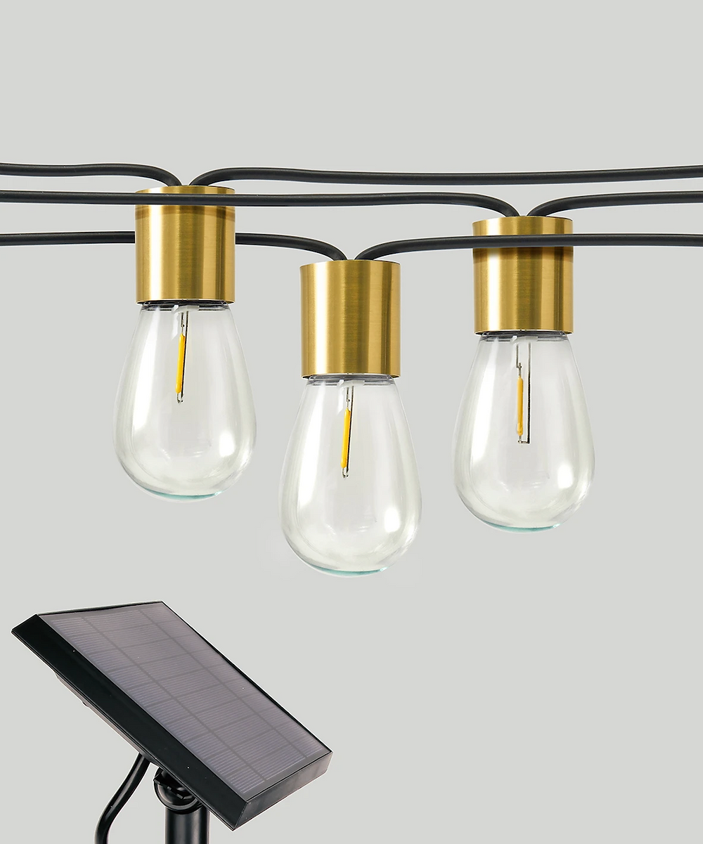 Solar powered cafe string lights for outdoors from Brightech.