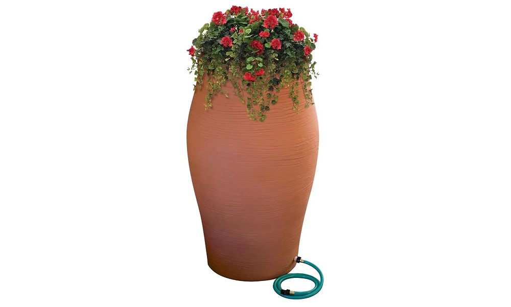 Terracotta decorative rain barrel and planter.