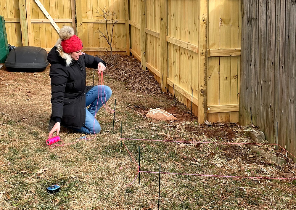 Here I am running the string to show the footprints of the raised veggie beds.