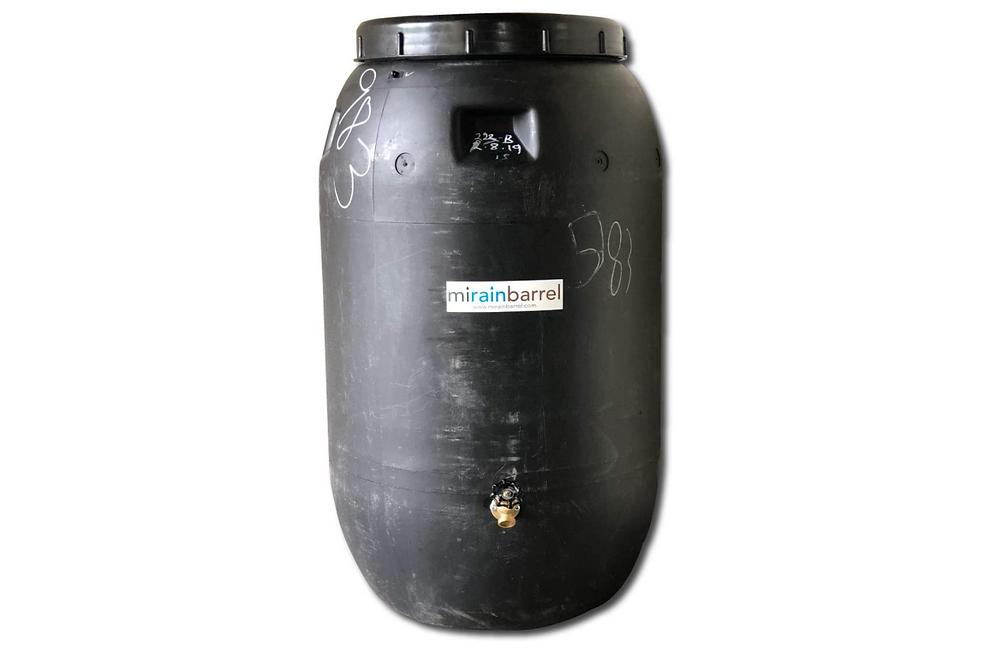 Upcycled food grade rain barrel by mirainbarrel via Amazon.