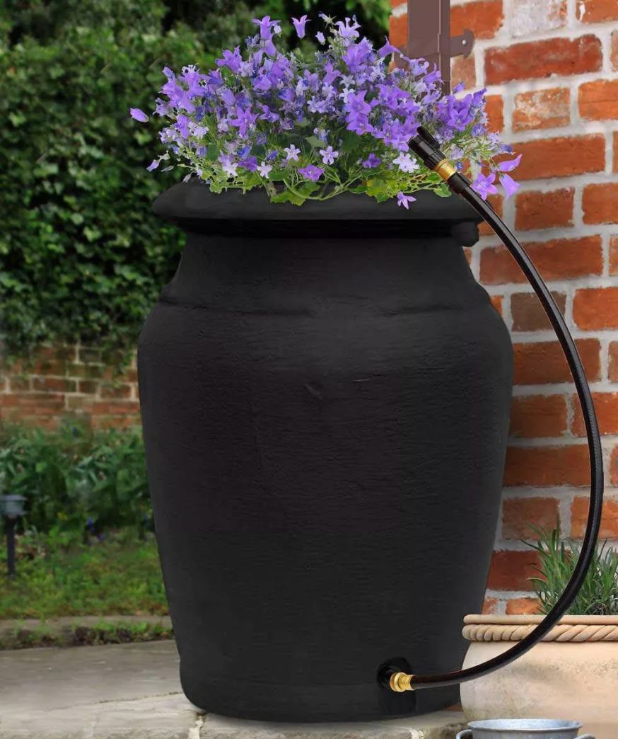 Black Yimby Urn-Style rain barrel with planter top from Target.