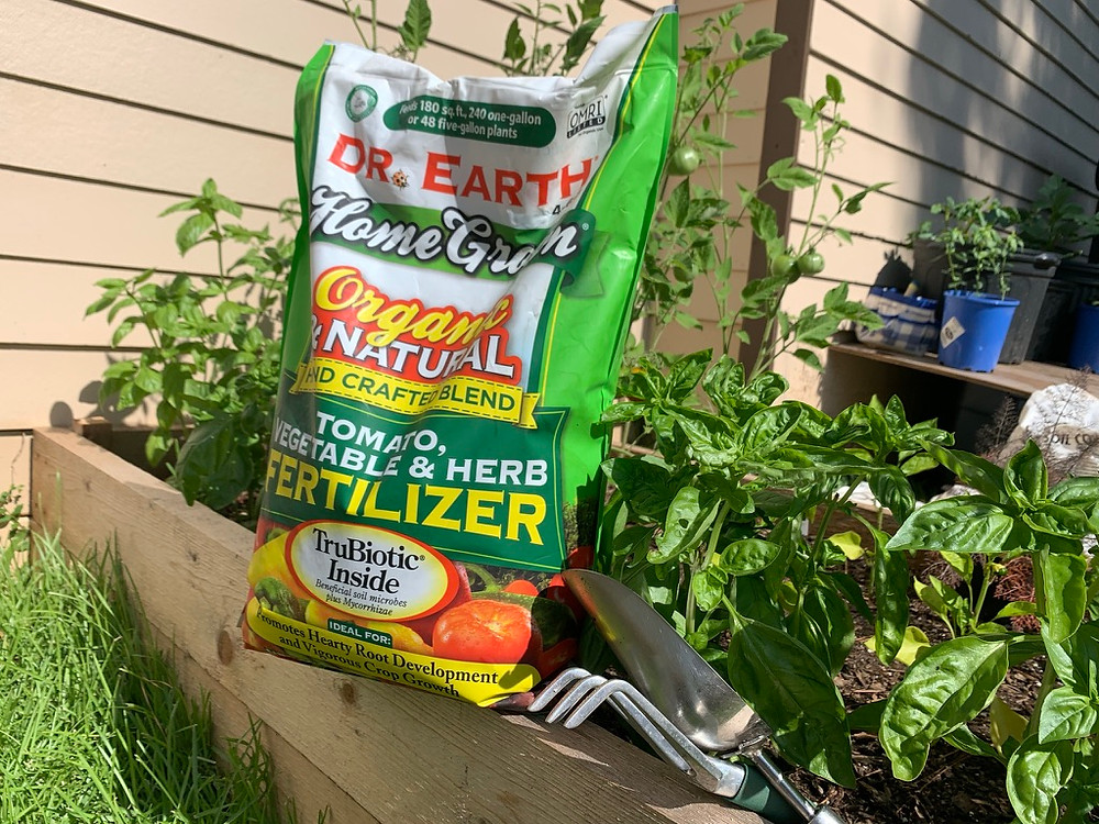 Dr. Earth organic tomato, vegetable and herb fertilizer.
