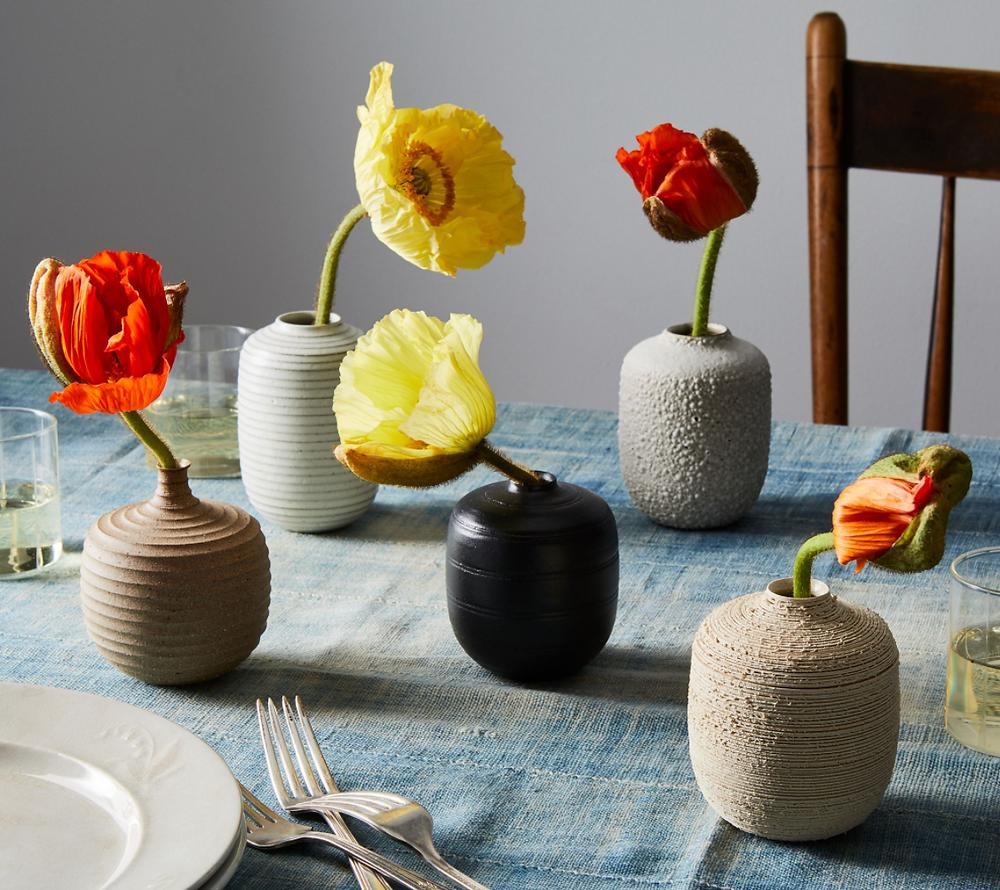 Handmade textured bud vases by Bombabird Ceramics. Image courtesy Food52.