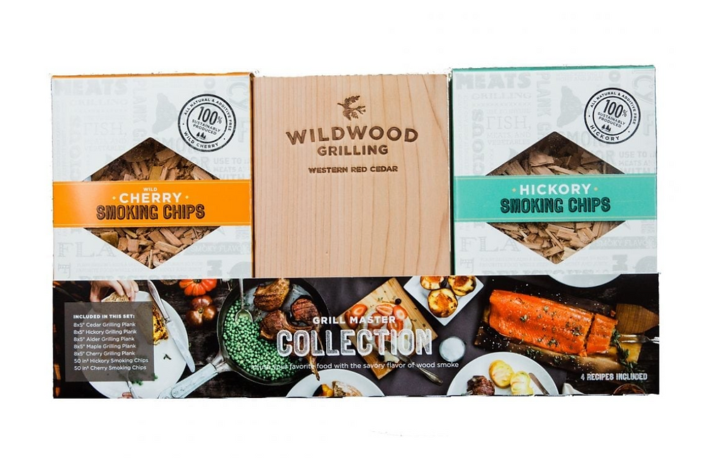 Grillmaster Collection of smoking chips and wood for grilling from Wildwood Grilling.