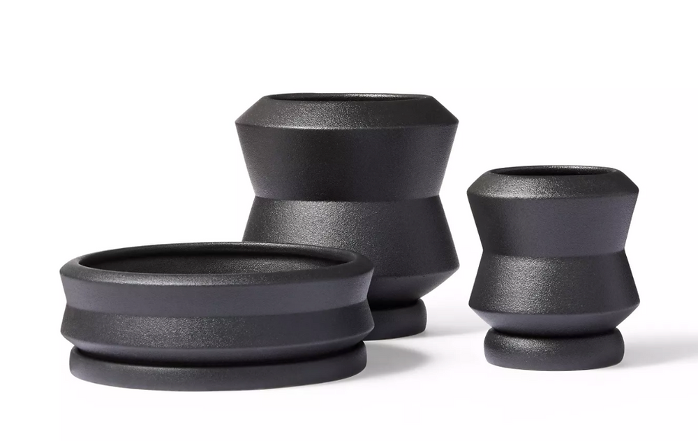 Hilton Carter stoneware planters in black for Target.