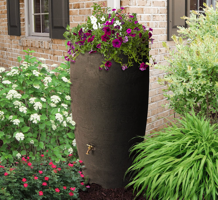 Athena Rain Barrel in Brownstone by Algreen from Amazon with planter top.