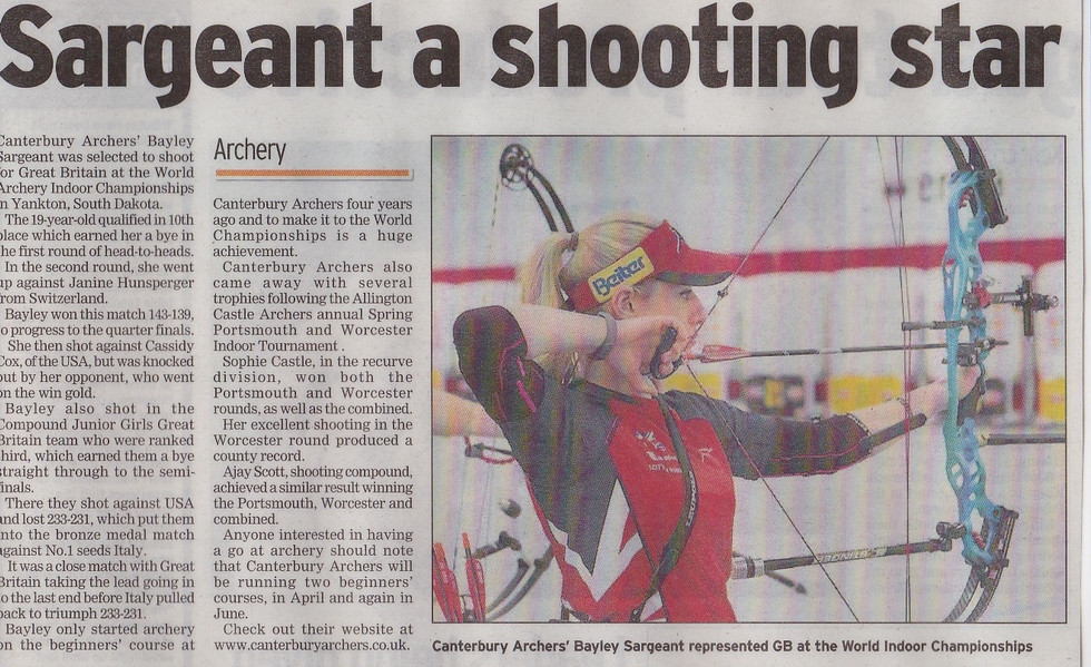 Canterbury Archers Archery GB Bayler Sargeant