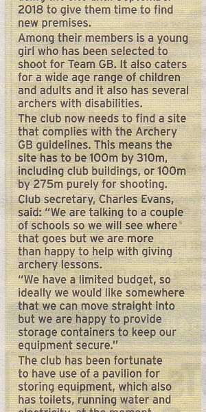 Canterbury Archers New Home