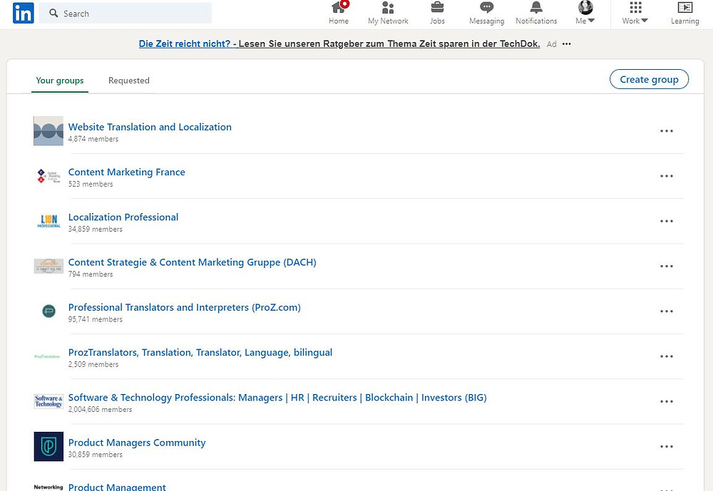 Image that shows List of LinkedIn Groups that Loie Favre is in.