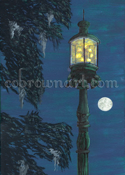 Old Harbor Light on Moonlite Night