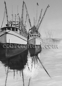 Shrimp Boats (Black & White)