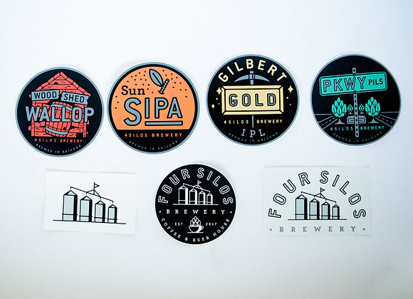 Four Silos 7-stack of stickers