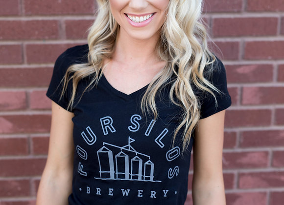 Four Silos Brewery - Vneck - Black