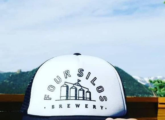 Four Silos Cap - Flat Bill Snap-back Trucker Cap - Black and White
