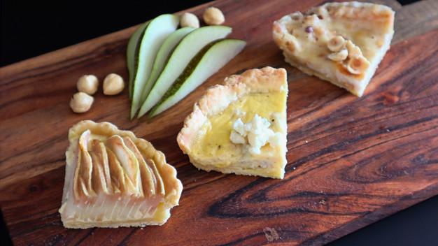Dreierlei Quiches ( Nuss-Birne-Gorgonzola)