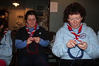 Part of a group from England learning to knit