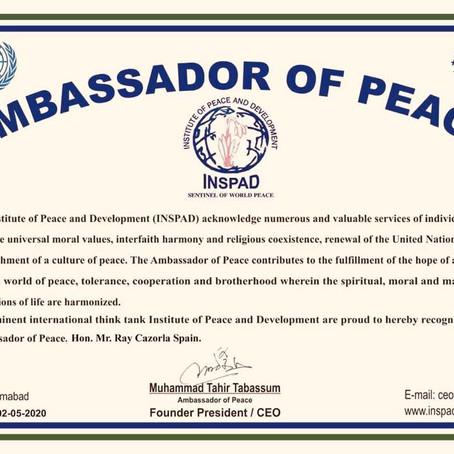 """Ray Cazorla, primer español nombrado Embajador de la Paz por la entidad de la ONU """"Inspad"""""""