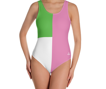 Incredibooty™ One Piece Swimsuit| Chic Pink, Green & White