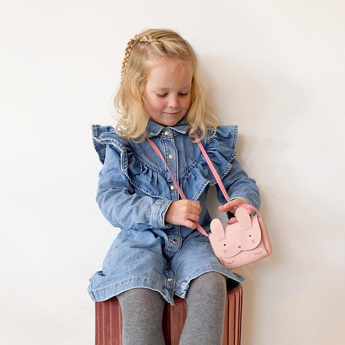 Kindertasje roze konijn
