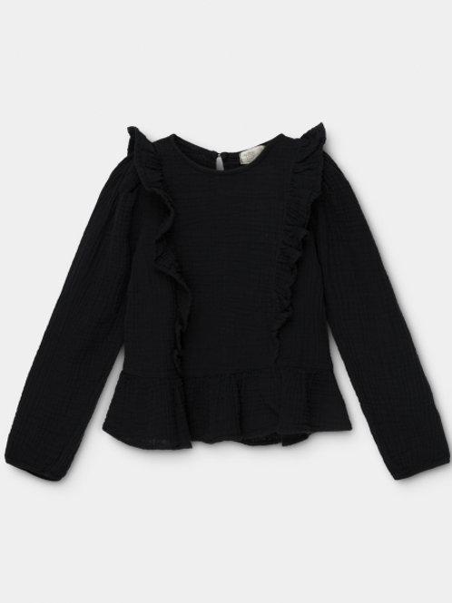 organic girls ruffle blouse BLACK