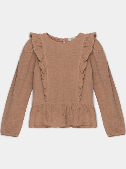 organic girls ruffle blouse PINK