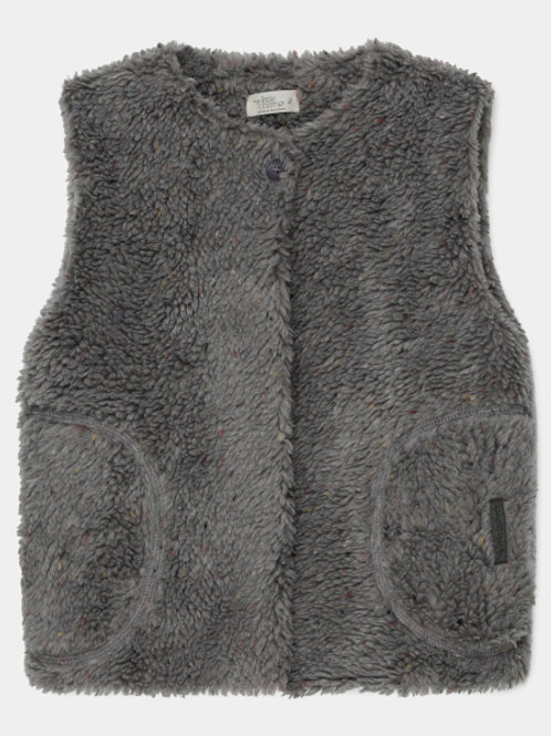 faux shearling kids vest recycled - Grey