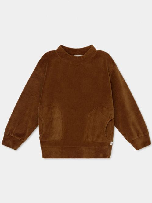 organic kids velour sweatshirt CARAMEL