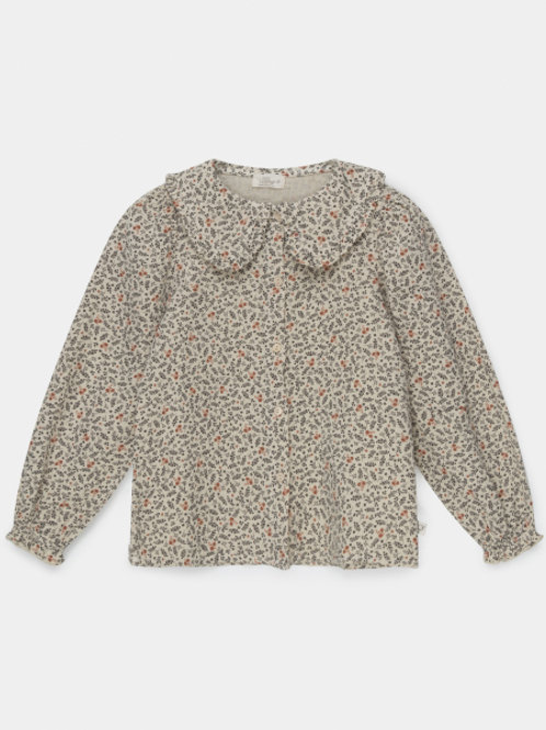 organic girls printed blouse STONE