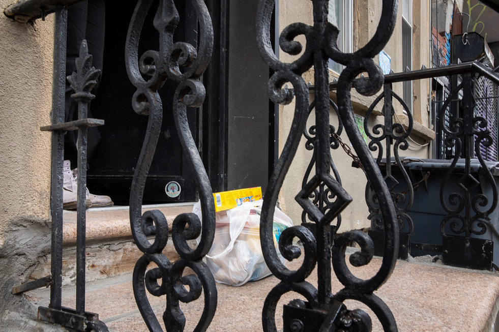 Delivering essentials for Covid-19 positive friends, Bushwick, Brooklyn, NY, April 10, 2020