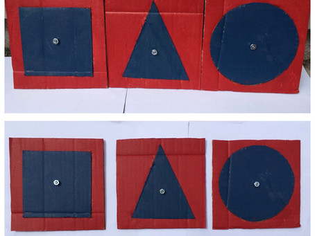 Language: Cardboard Cutout Metal Insets