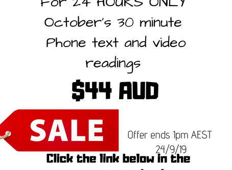 Flash sale 24 hours only $44 30 min readings for October
