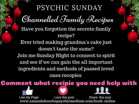Psychic🔮Sunday!! Channeled recipes night !  Don't miss 😇💕🎄