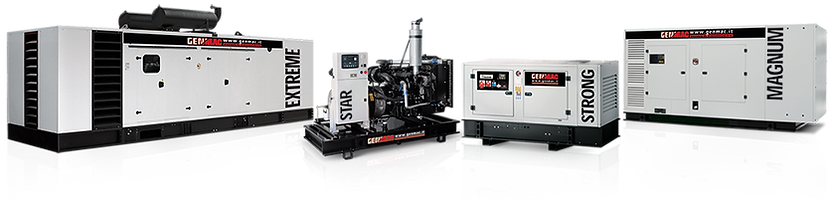 Generating sets equipped with gasoline, diesel or gas engines with power range from 2 KW to 2000 kVA for any type of application.