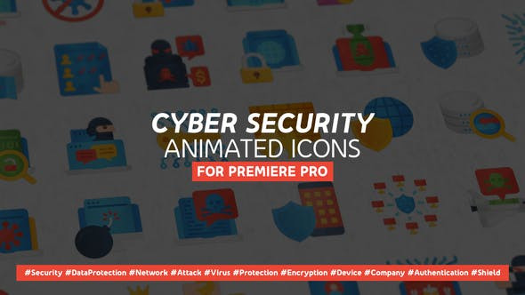 VIDEOHIVE CYBER SECURITY MODERN FLAT ANIMATED ICONS - MOGRT - PREMIERE PRO