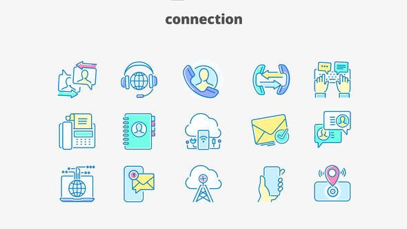 VIDEOHIVE CONNECTION- FILLED OUTLINE ANIMATED ICONS