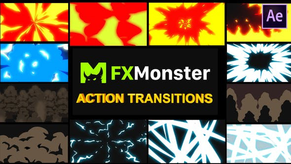 VIDEOHIVE CARTOON ACTION TRANSITIONS | AFTER EFFECTS