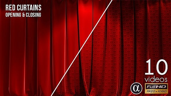 VIDEOHIVE 3D REALISTIC RED CURTAINS OPENING & CLOSING - 10 PACK - MOTION GRAPHICS