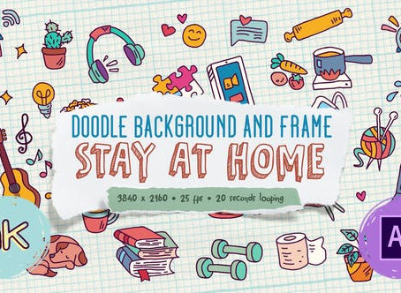 VIDEOHIVE DOODLE BACKGROUND AND FRAME - STAY AT HOME
