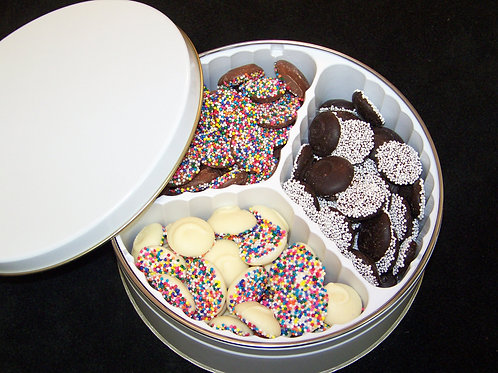 Gift Tin 3 Chocolate Nonpariels  Large 20 oz Tin