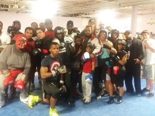 Sparring session in the gym.