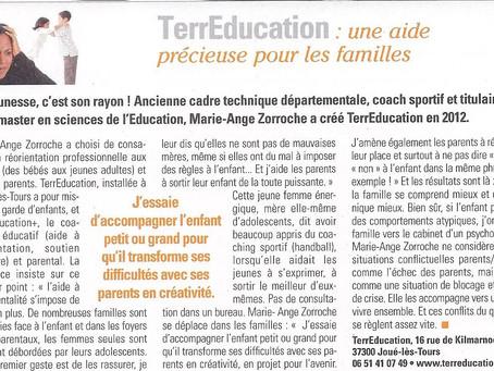 """Article dans le Magazine Tours+ """"TerrEducation : une aide précieuse pour la famille"""""""