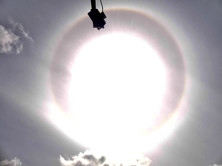 There was a definite circle around the sun, with a rainbow colour tinge