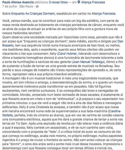 Análise crítica de Enquanto as crianças dormem. por Paulo Afonso Asencio