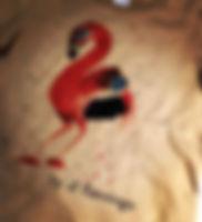 手描きフラミンゴTシャツ