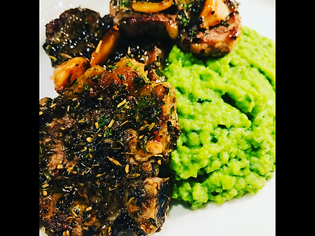 Herb Crusted Lamb Chops with Minty Pea P