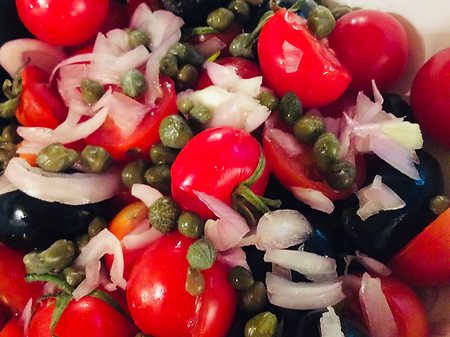 Capers, Tomatoes and Red Onions