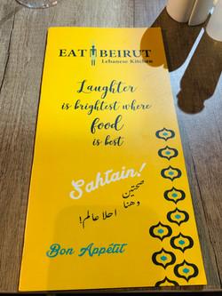 Eat Beirut Menu