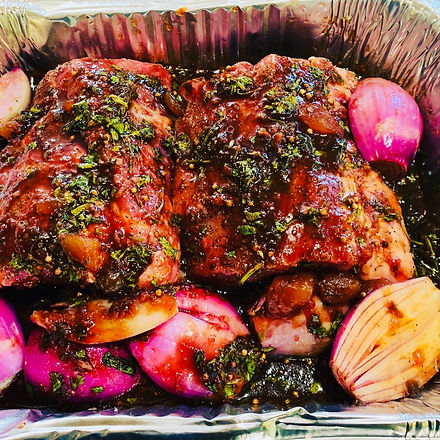 Sticky Ribs On A Bed of Red Onions and G