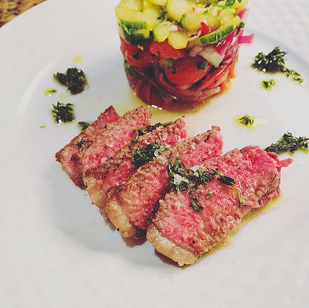 Steak with Tomato and Cucumber Salad