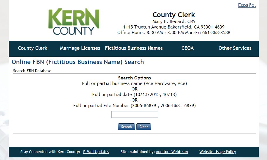 How to find a fictitious business name in Kern County